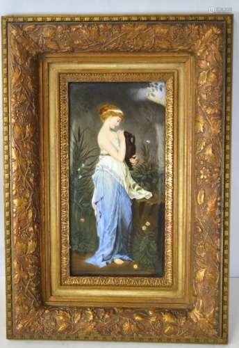 KPM Wood Framed Porcelain Plaque of Lady