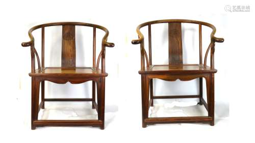 Two Chinese Huanghuali Horseshoe Back  Chair