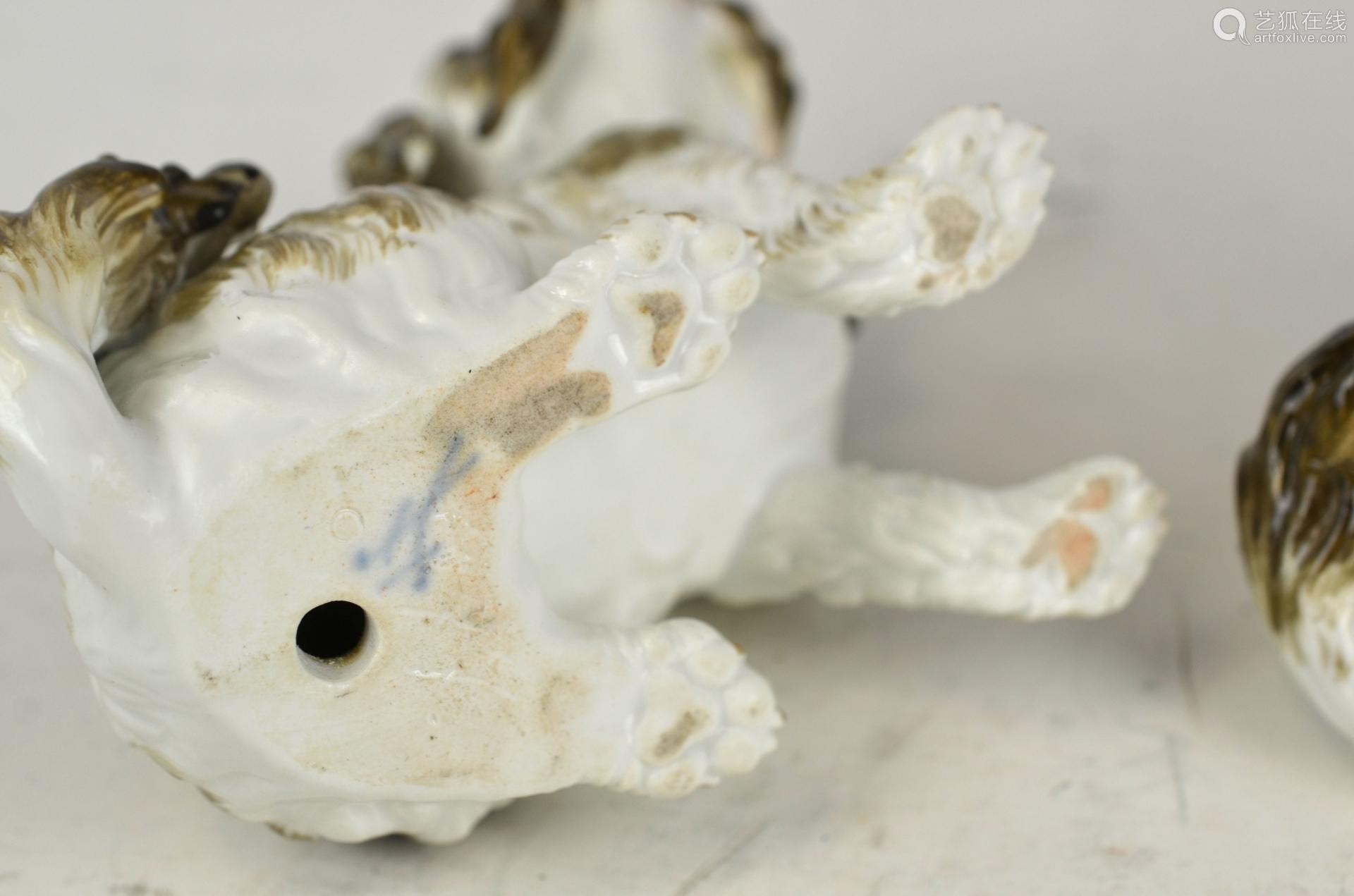 Pr Meissen Porcelain Dogs