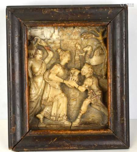 16/17th Cen. Carved Stone Plaque with Scene