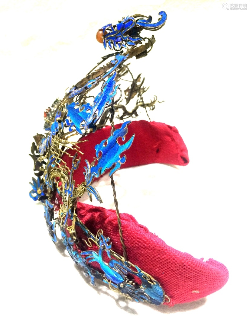 Chinese Silver Enamel Lady Crown