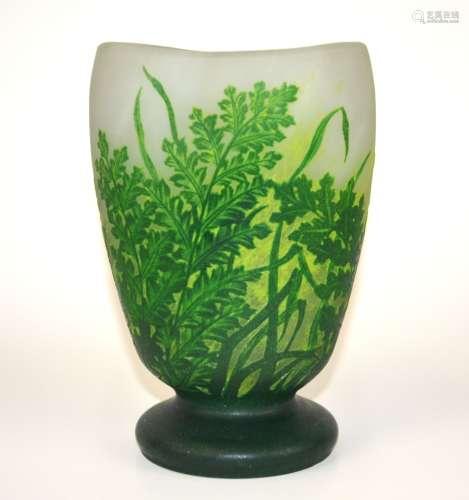 Daum Nancy Style Green Glass Vase