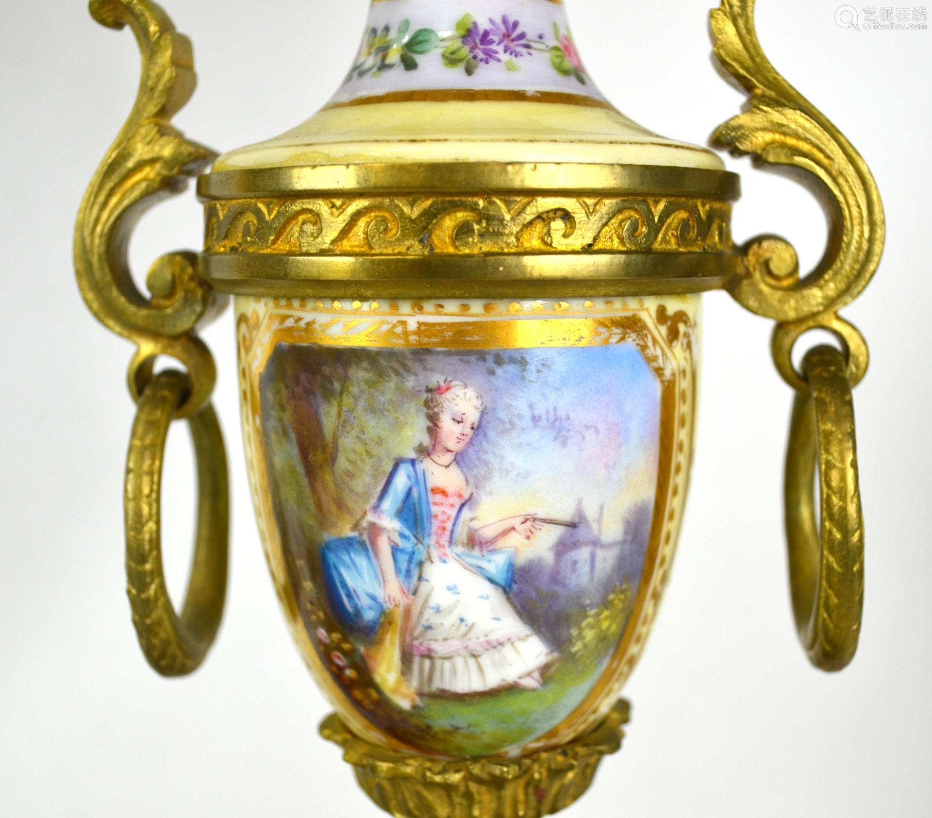 Pr Sevres Bronze & Porcelain Lamp Candelabras