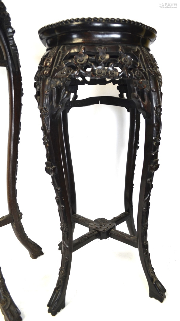 Two Tall Chinese Wood Carved Stands w Marble