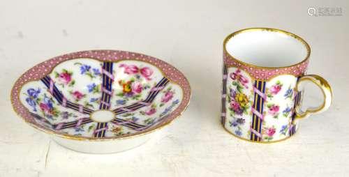18th Cen. Sevres Porcelain Cup & Saucer