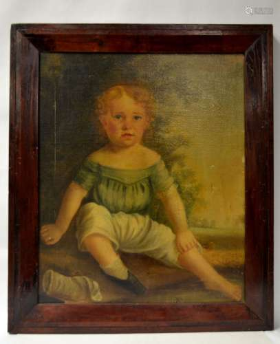 Antique Framed Oil Painting on Canvas-Child