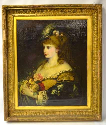 Antique Framed Oil Painting on Canvas-Portrait