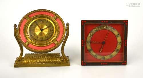Two  Enameled Bronze Desk Clocks