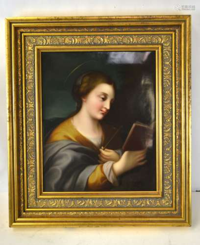 KPM Wood Framed Religion Porcelain Plaque