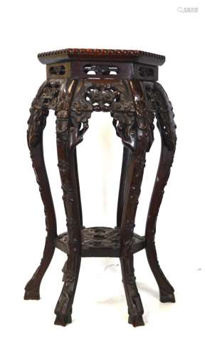 Chinese Wood Carved Stand w Marble