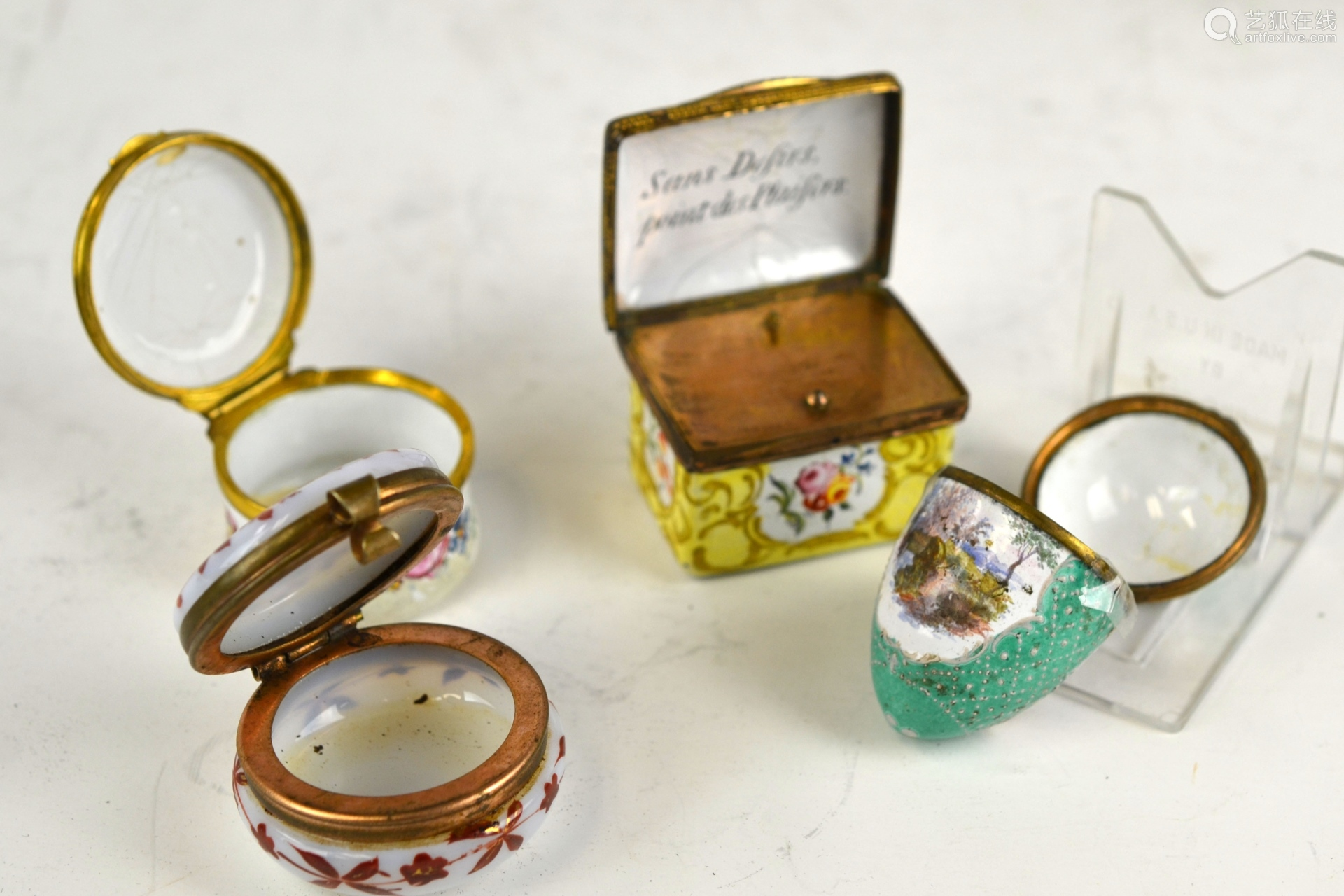 Eight Enamel Boxes