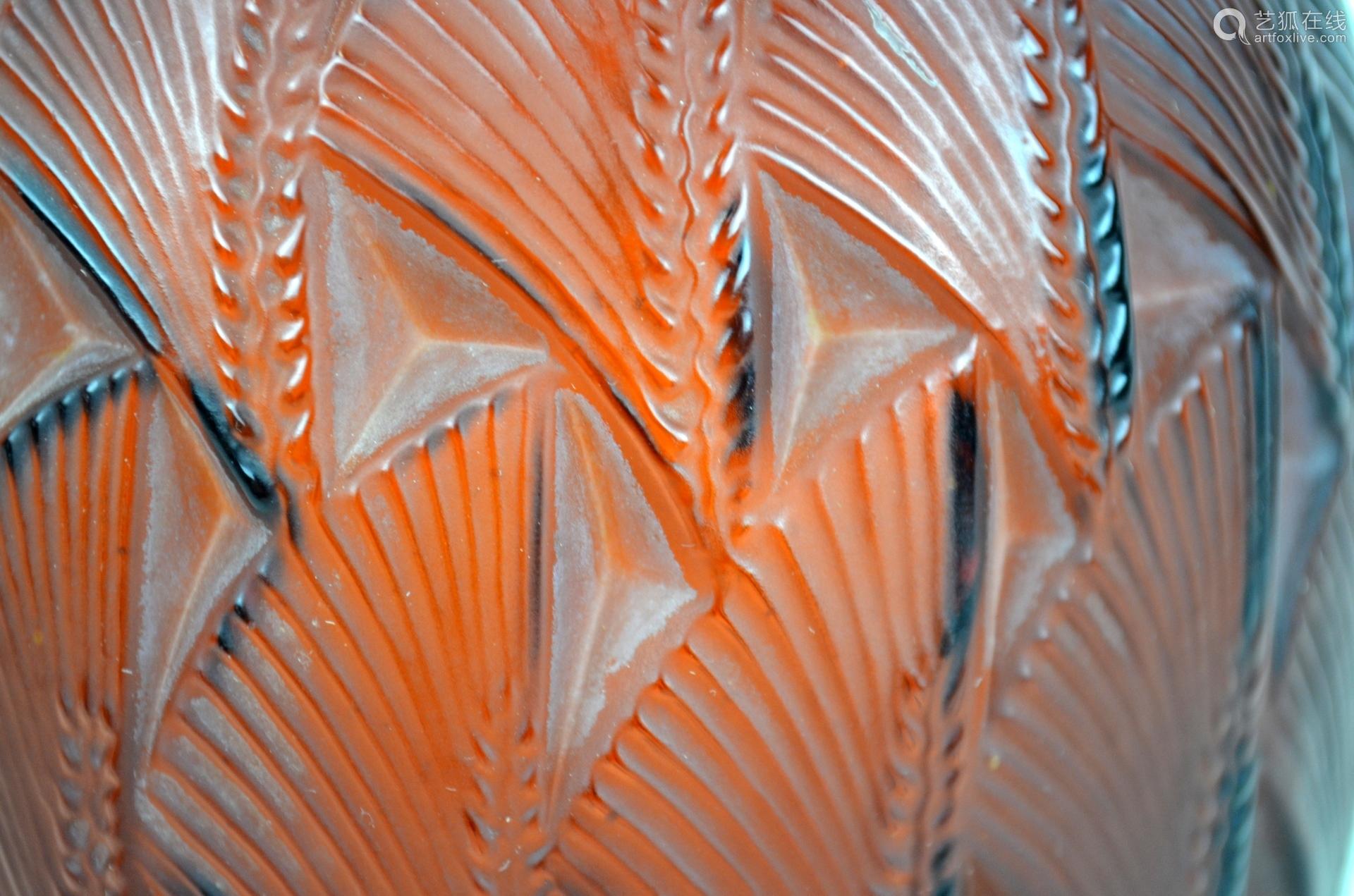 Lalique. Pr Red Art Glass Vases