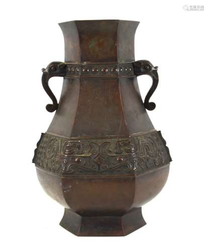 Chinese Hexagonal Bronze Vase