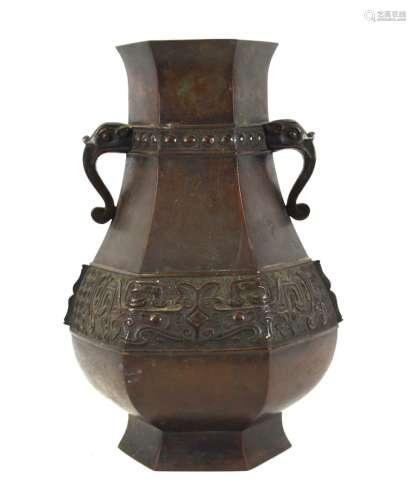 Chinese Hexagonal Bronze Vase