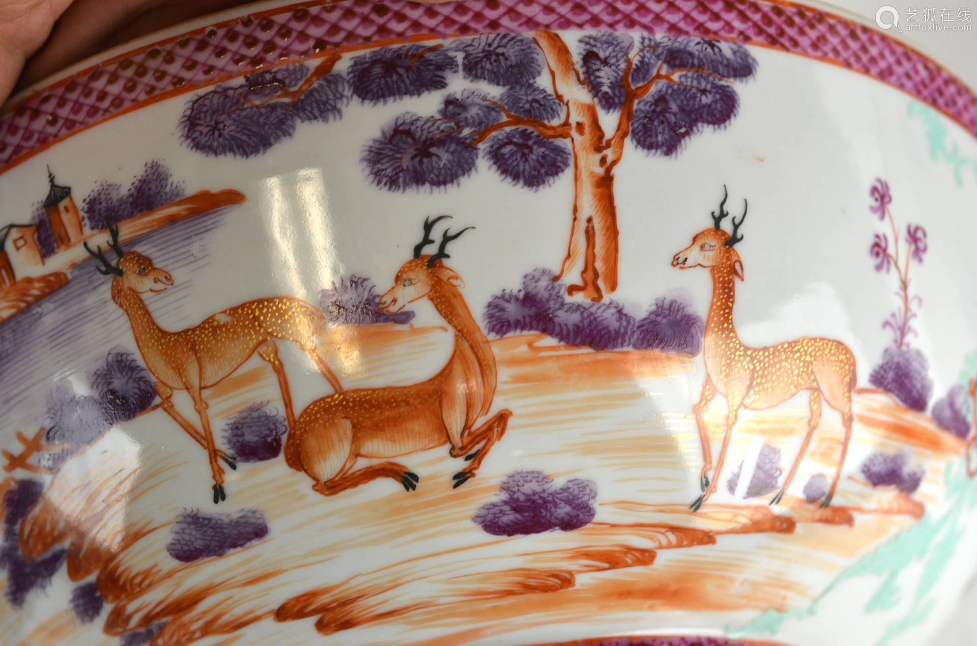 Chinese Rose Medallion Bowl with Deer