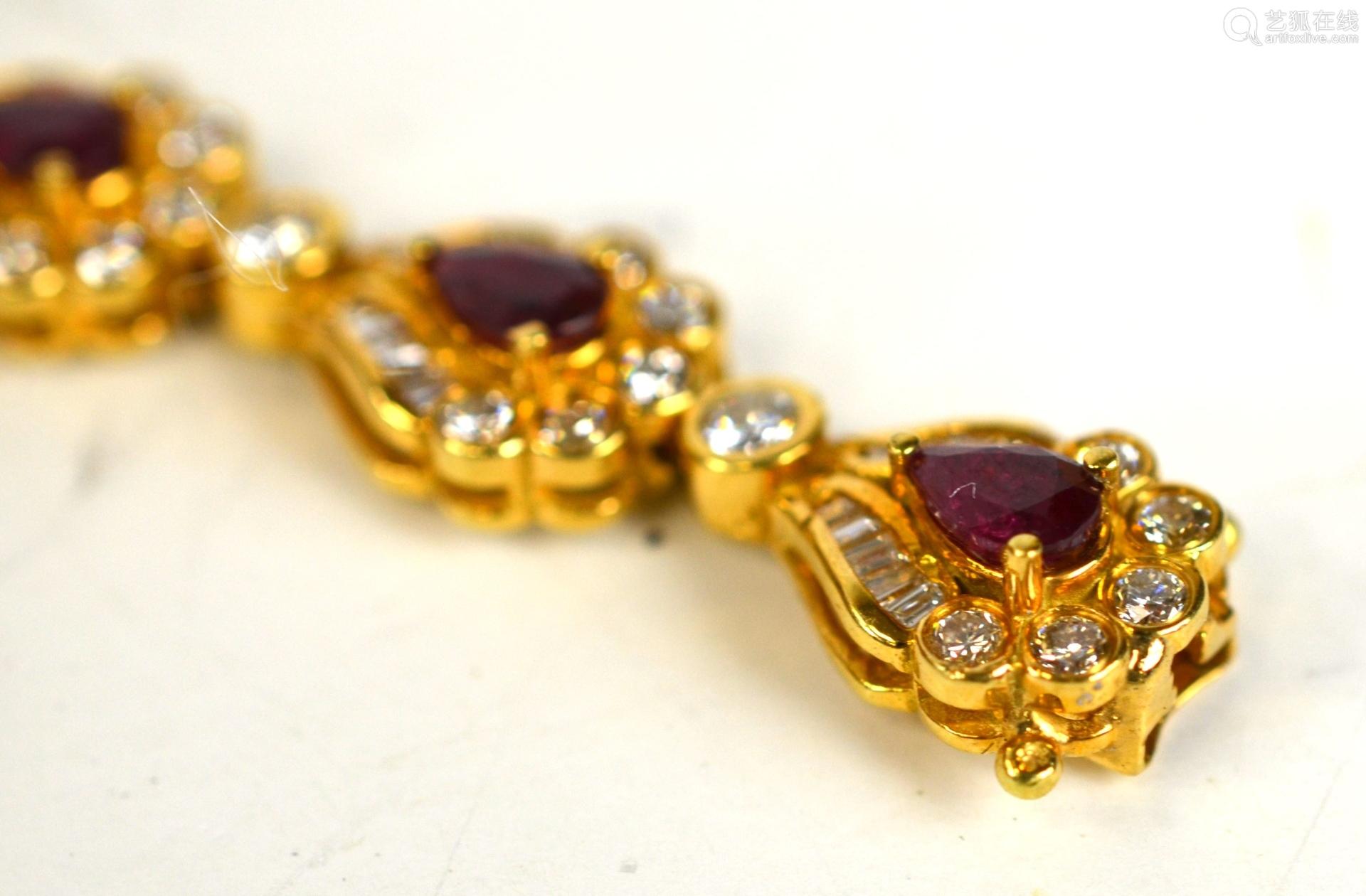 Tiffany & Co.18 K Ruby and Diamond Bracelet