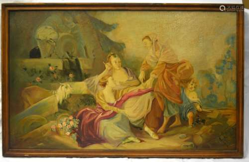 Antique Framed Oil Painting on Canvas -Social