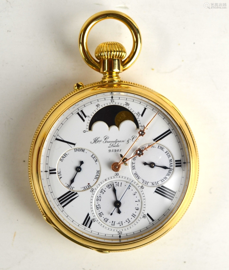 18K Gold Moon Phase Pocket Watch