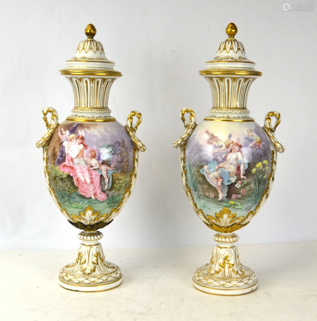 Pr Sevres Porcelain Urns Vases with Covers