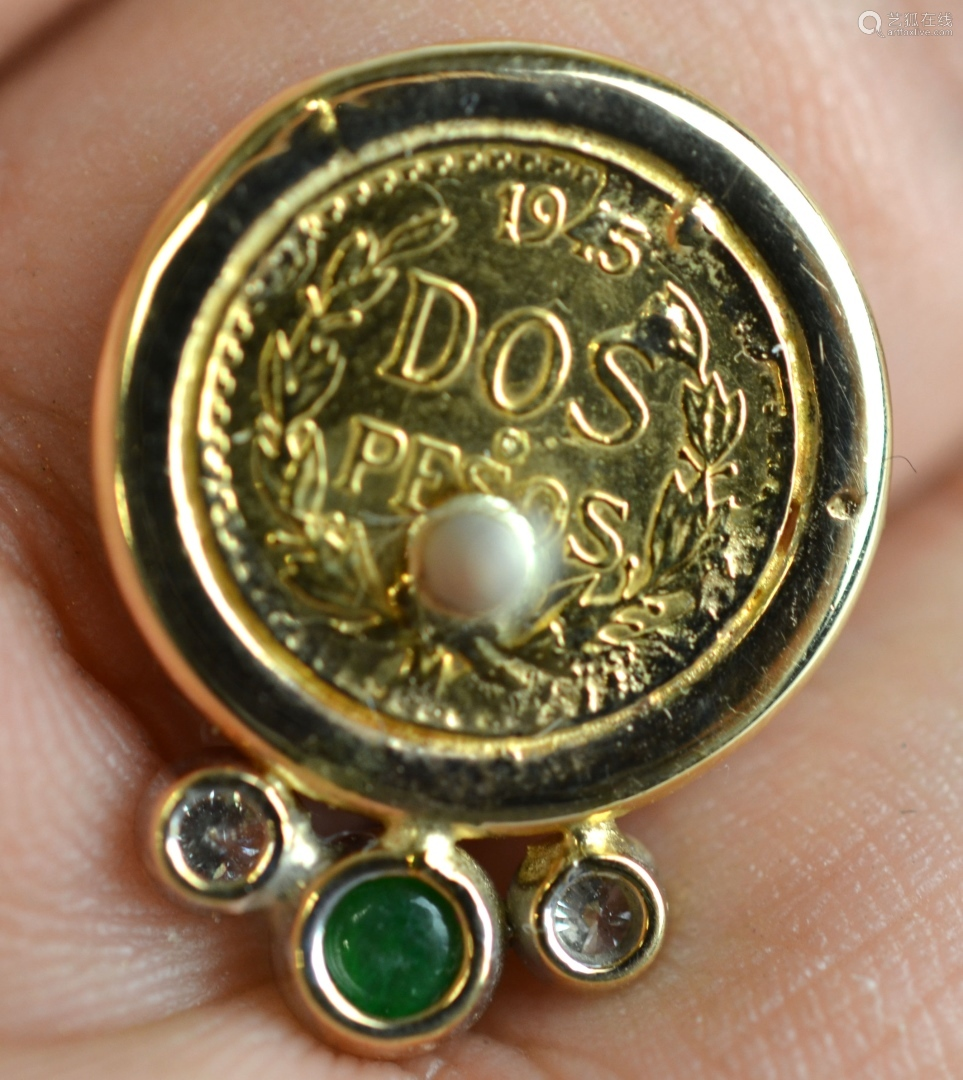 22K Gold Mexican Enamel Coin Pin