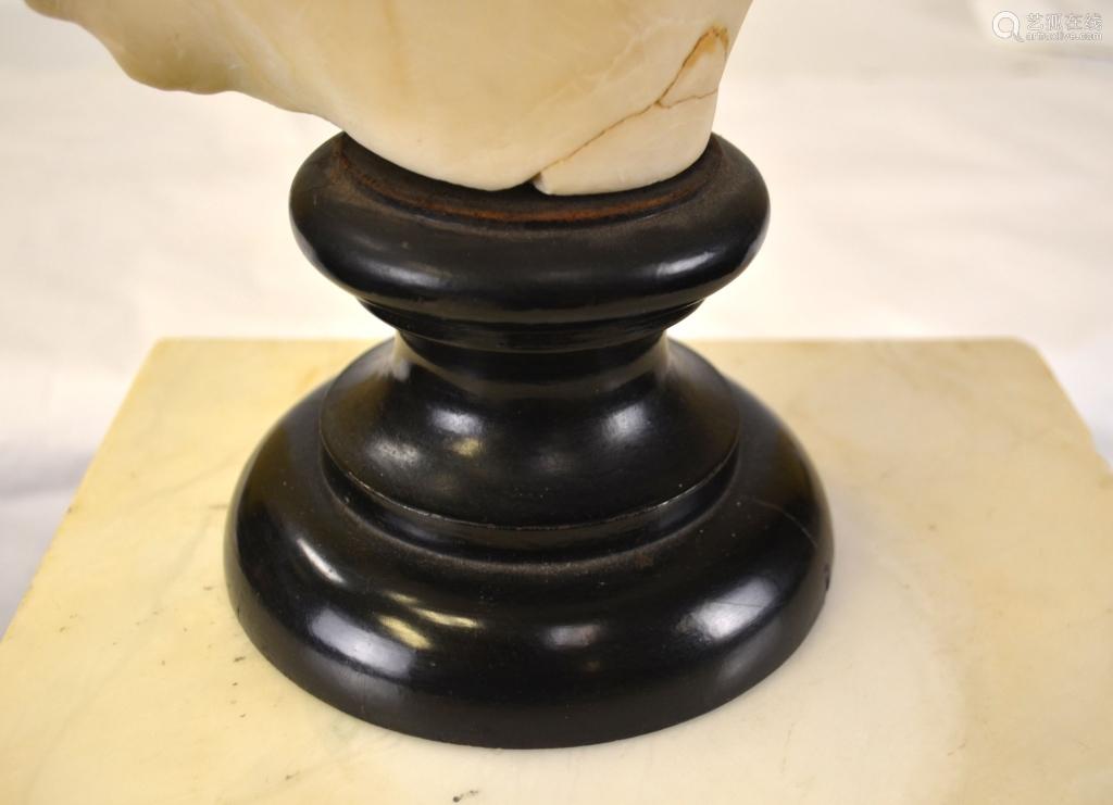 Antique White Marble Bust w/Pedestal