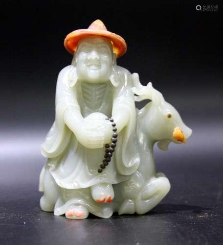 Chinese Carved Jade Man on Deer