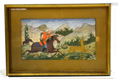 Persian Framed Hunting Scene Painting