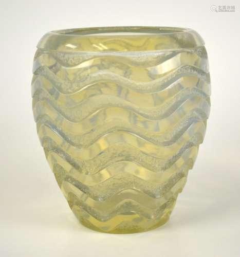 Lalique Glass Opalescent Heavy Vase