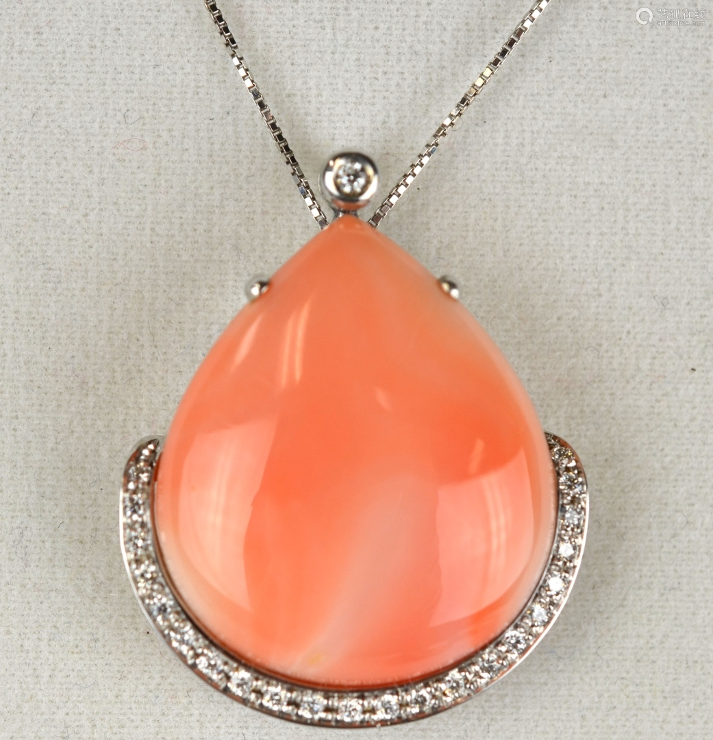 18K Gold Necklace w. Pear Shape Coral Pendant