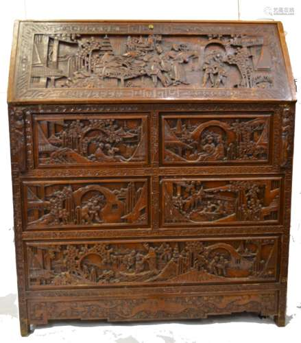 Chinese Wood Carving  Desk/ Dresser/ Cabinet