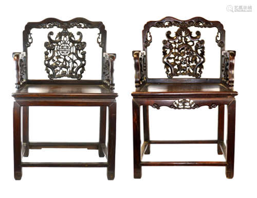 Two Chinese Hardwood Chairs