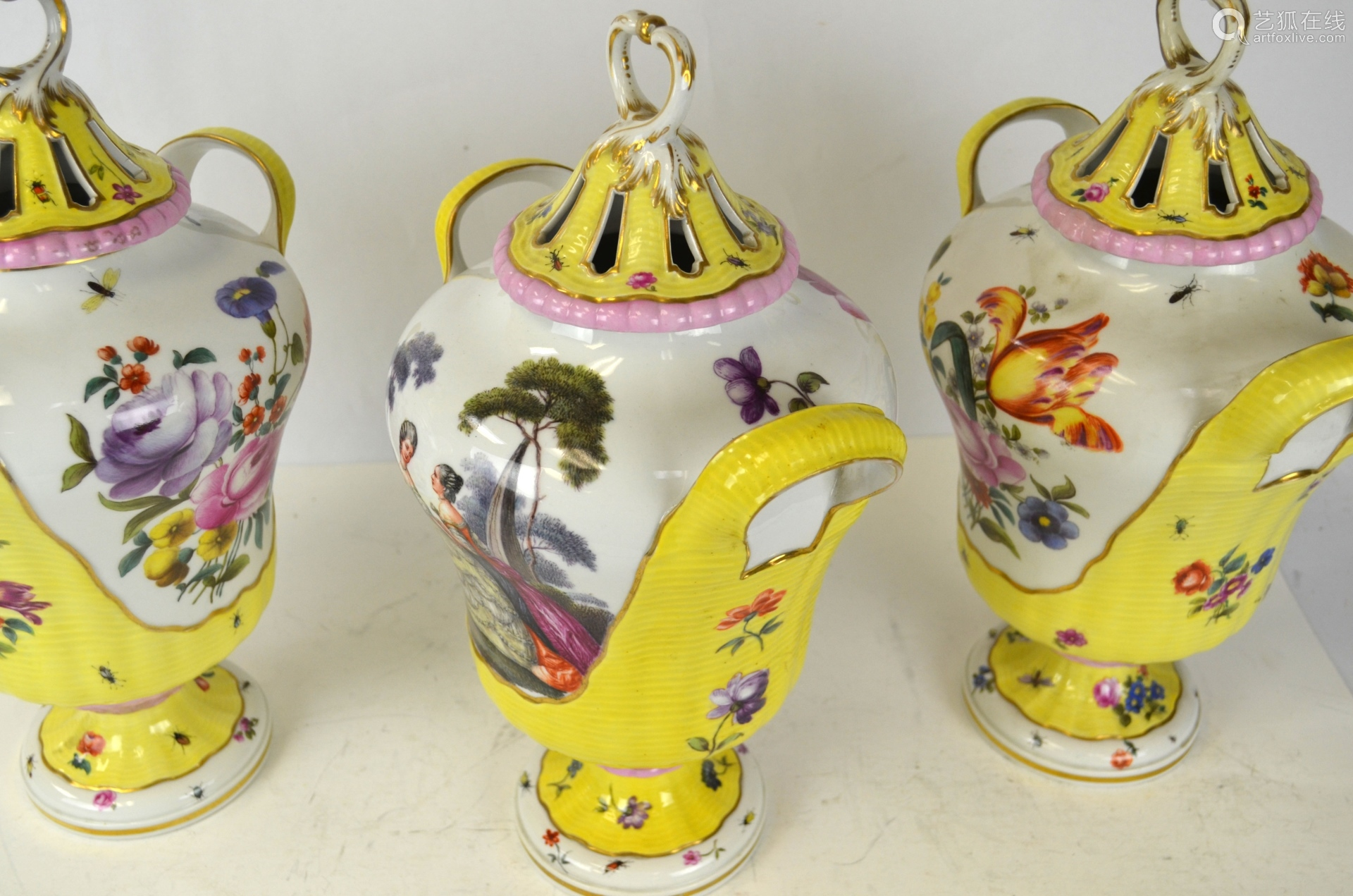 Three KPM Covered Vases