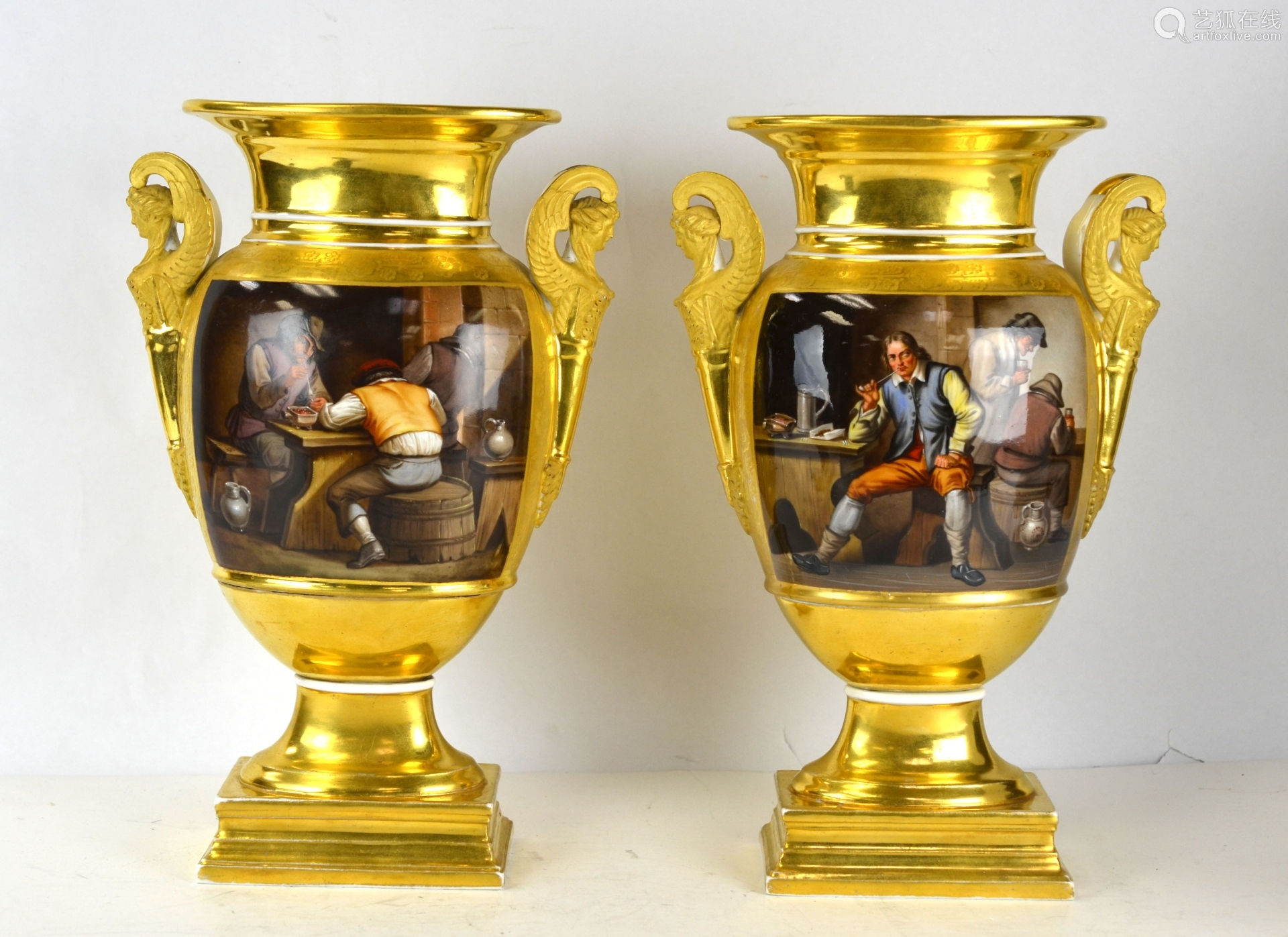 Pr Russian Gilt Painted Porcelain Vases