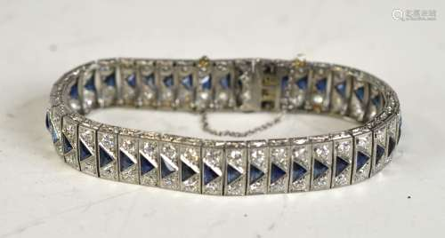 Platinum Bracelet with Diamonds & Sapphires