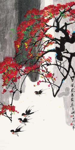 张人希 1987年作 凤凰花发燕子飞 立轴 设色纸本