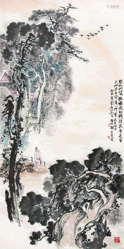 郑百重 1983年作 杜甫草堂 镜片 设色纸本