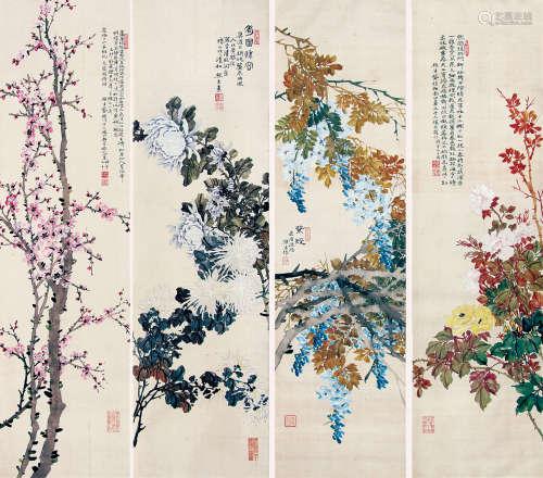 龚植 1939年作 四季花卉 镜框 设色绢本