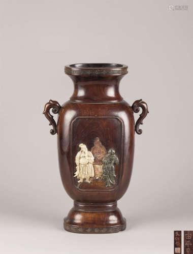 清代(1644-1911) 黄花梨嵌寿山石人物纹双耳瓶