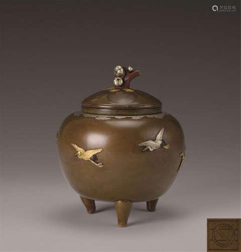 铜错金银僊鹤纹三足香炉