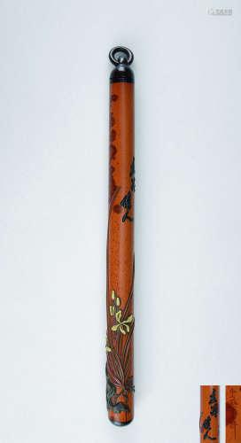 清代(1644-1911) 大漆兰石纹湘妃竹香筒