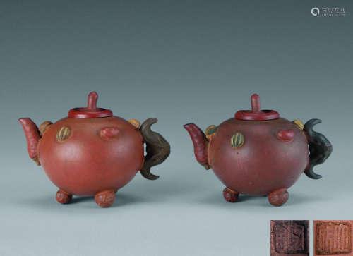 清晚期(1840-1911) 许立成 紫砂百果壶 (一对)