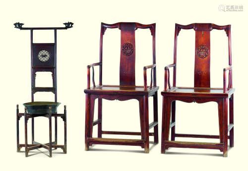 扇面形官帽椅一对 面盆架 铜面盆 (四件一组)