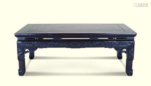 清代(1644-1911) 黄花梨花卉纹长方炕桌