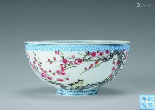 薄胎粉彩花鸟纹碗