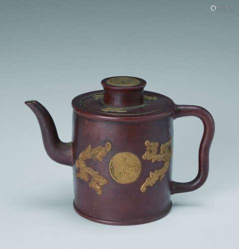 民国(1912-1949) 双凤捧寿纹紫砂壶
