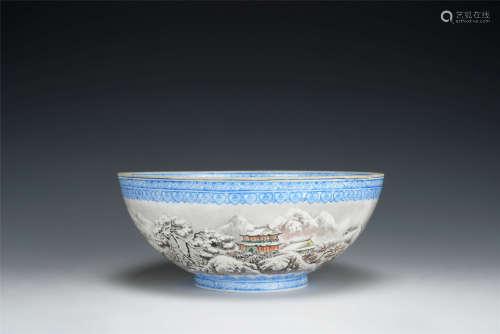 薄胎墨彩雪景山水紋碗 帶木盒