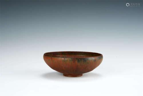元代 柿釉茶碗 帶木盒