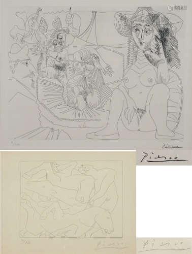 畢加索 女人與馬 人物 版畫 二幅 帶鏡框