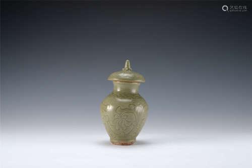宋代 耀州窯花卉紋蓋瓶