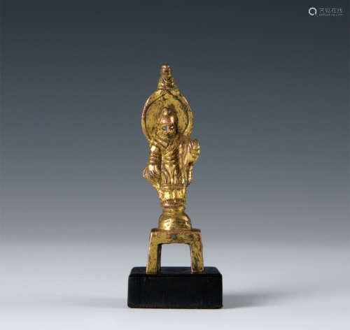 唐代 銅鎏金佛立像 帶木托
